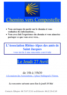 Rencontre Chemins vers Compostelle Avril